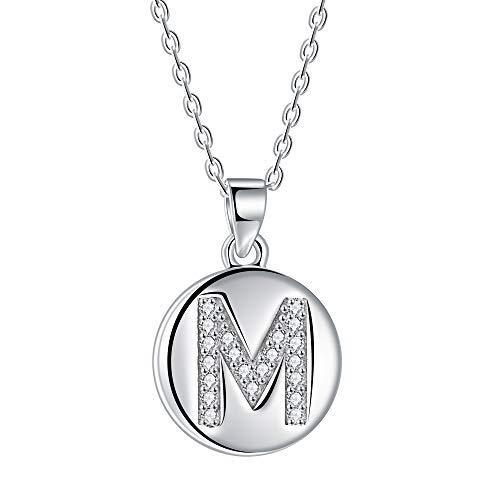 Collana da donna con lettera iniziale M, pendente a disco in argento 925 con zirconi cubici AAA, lunghezza catena 40 + 5 cm