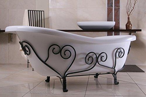 Casa Padrino Freistehende Badewanne Jugendstil Mediterran Weiß/Schmiedeeisen 1690mm - Antik Stil Badezimmer - Retro Antik Badewanne