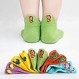 キッズ 子供 靴下 5足セット ソックス 男の子 女の子 くつ下 くるぶしソックス おもしろ立体 刺繡 くるぶし ショートソックス マルチカラー 通気 メッシュ ソックス 綿 (L(16~18cm), A-恐竜)