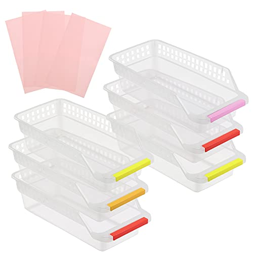 SUNYOK 6Pcs Kühlschrank Schubladen Kühlschrank Organizer mit 4 Kühlschrankmatten Kühlschrank Container Schubladen mit bunten Griffen für Küche Gemüse Obst Milch (Zufällige Farbe)