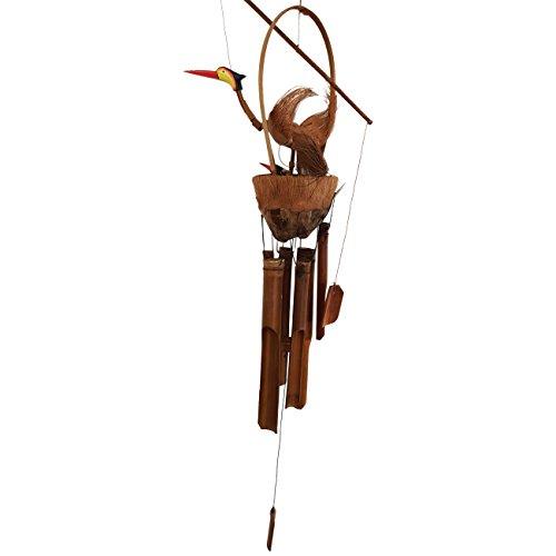 Ciffre Ca. 100cm Windspiel, Klangspiel. Großer Vogel mit Nest und Jungen Vögeln Bambus Kokosnuss