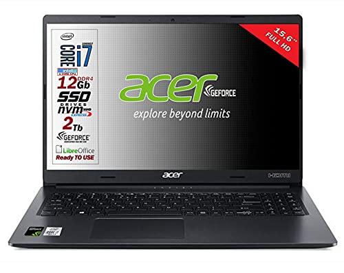 Notebook Acer portatile SSD, Intel i7 1065g7 4 Core, RAM 12GB DDR4, SSD PCI NVMe da 1TB + 1TB, display 15.6  Full HD, Svga Geforce MX330 DEDICATA, usb, wi-fi, hdmi, bt, Win 10 Pro, Pronto all uso