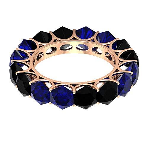 Schwimmender Ewigkeitsring, 5,2 Karat 5 mm blauer Saphir Labor erstellt Ring, 4,8 Karat Sechseck schwarzer Spinell Ring, Edelstein alternativer Ring, Braut Ehering, 18K Roségold, Size:EU 66