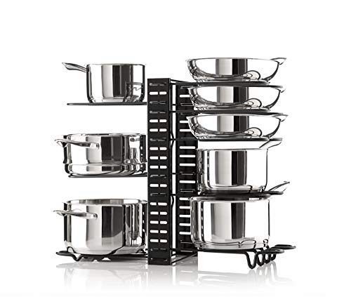 Smartsome Cabinet Organizer - Adjustable Pot Rack Holds A Minimum Of 8 Pots, Pans And Lids - 3 Different DIY Ways To Use The Pots And Pans Organizer Including On The Counter
