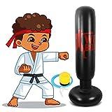 Winload Saco de Boxeo Hinchable 160 cm, Saco de Boxeo de Pie para Niños, para un Rebote Practicar Karate, Fitness Boxeo Saco de Arena Columna Tumbler, Ejercicio y Alivio del Estrés, con Bomba de Aire
