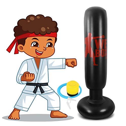 Winload Sacco da Boxe Gonfiabile 160 cm, Sacchi da Boxe in Piedi, Gonfiabile Colonna Tumbler per Fitness, Pratica di Taekwondo Karate, Alleviare Lo Stress per Bambini e Adulti, con Pompa Pneumatica