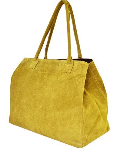fashion-formel Zarolo Italienische Damen Handtasche, Shopper, Leder Henkeltasche, Hobo Bag, echtes Leder/Wildleder/Kroko Look