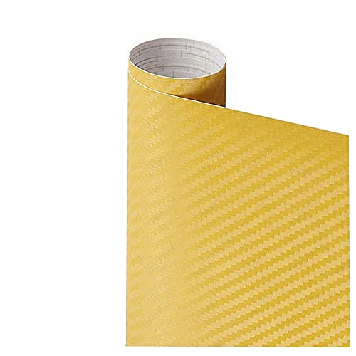 Pegatina de película de rollo de papel de envoltura de automóviles Pegatina de coches Multi Color Sticker 3D Fibra de carbono Vinyl Multi tamaño Autoadhesivo (Color Name : Yellow)