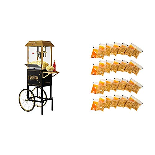 Best Price Nostalgia CCP1000BLK Vintage 10-Ounce Commercial Popcorn Cart with 24 4-Ounce Premium Pop...