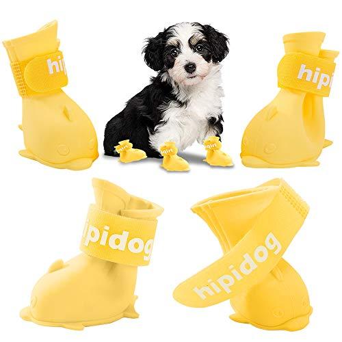 Waterdichte Hond Laarzen Puppy Regenschoenen Pet Claw Guard Paw Cover Bescherming Anti-slip Boot Sneeuw voor Teddy Pommeren Kleine Midden en Grotere Honden 4 STKS (Large-5.5cm (Lengte), Geel)