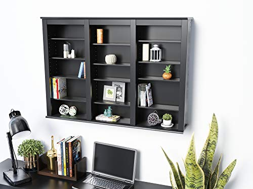 Prepac Black Large Capacity Wall Media Storage Rack