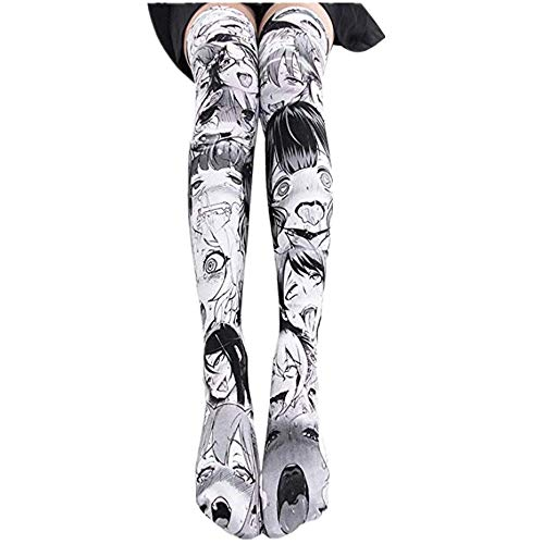 Hentai Faces Print Socks Thigh High Anime Lolita Cosplay for Girls, Gray