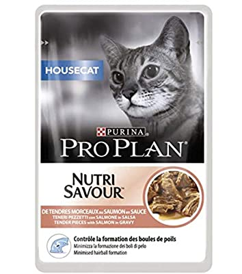 Purina Pro Plan Nutrisavour Housecat 40 X 85g Wet Food - Salmon - Minimise Hairball Formation And Reduces Litterbox Odour Comes With A Woolly Mouse Cat Toy
