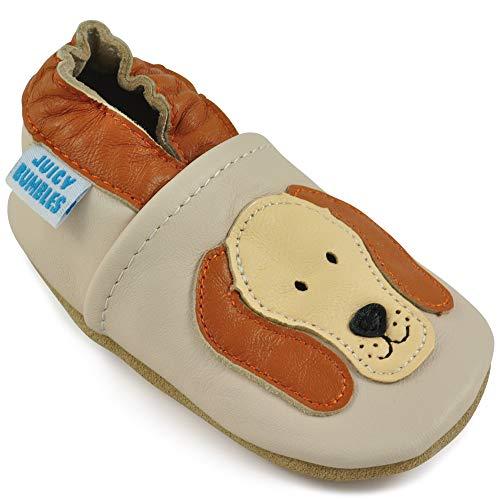 Juicy Bumbles - Weicher Leder Lauflernschuhe Krabbelschuhe Babyhausschuhe mit Wildledersohlen. Junge Mädchen Kleinkind- Gr. 12-18 Monate (Größe 22/23)- Kleiner Hund