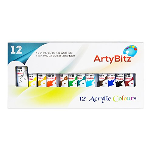 Acrylic Paint Set of 12 Vibrant Colors from ArtyBitz. Quality Non Toxic Paints for use on any number of surfaces. Suitable for Kids & Beginners to Professional Artists