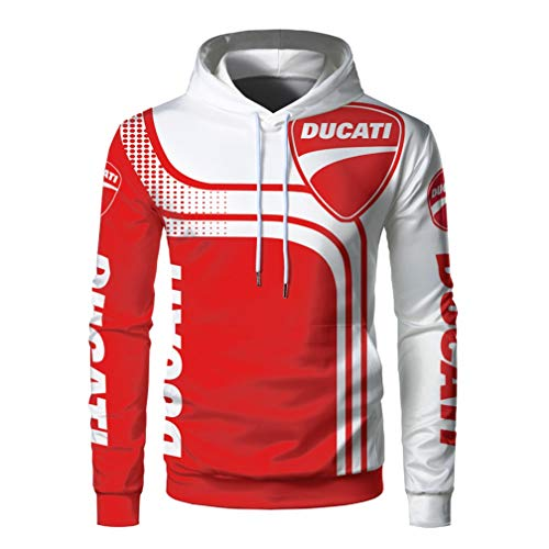 Cronell Story Unisex Langarm Hoodie 3D Digital International Ducati Logo Print Sweatshirt Lässiges Sweatshirt (1,L)