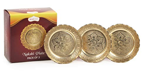 Shubhkart Nakshi Plate (Pack of 3), Decorative Handmade Brass Indian Plate for Puja 7 cm (Small)