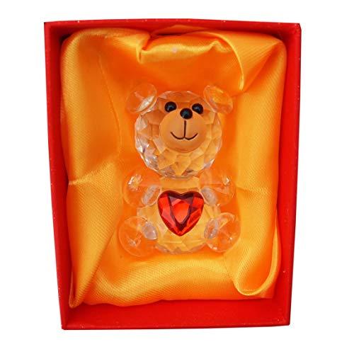Cristal Oso de peluche con corazón rojo Aniversario Romántico Parejas Regalo Presente en Caja de lujo Día de San Valentín Amor por la novia Esposa
