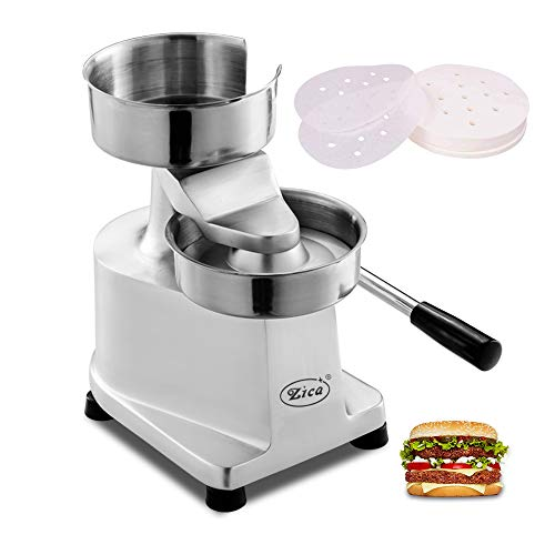 Zica 5 inches/130mm Commercial Hamburger Patty Maker Heavy Duty Meat Forming Processor, Stainless Steel Bowl, Includes 500 Pcs Patty Papers