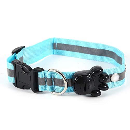 Tnfeeon Verstelbare halsband voor huisdieren met verlichting voor honden, verstelbare halsband met nylon led voor huisdieren met sieraden voor kleine katten,  Rosa Roja