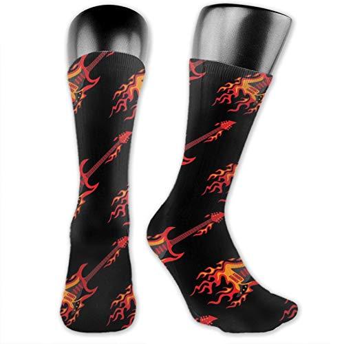 Calcetines de anime volar ardiendo guitarras suaves de secado rápido transpirable deportes calcetines unisex de la tripulación calcetines de 39,7 cm