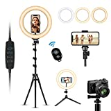 VANYUST 10'' Ring Light with 63' Extendable Tripod Stand & Phone Holder, 3 Color Modes and 10 Brightness, USB Powered, Heighten Hose, Phone Holder for YouTube Video, Vlog,TIK TOK,Live,Makeup, Selfie
