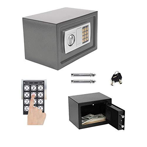Tresor mit zahlenschloss Digital PIN-Code und Schlüssel Elektronischer Safe Sicherheitskasten Doppelbolzenverriegelung Wandtresor Möbeltresor -8.5L (Grau)