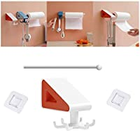 Seamless Rotating Hook With Steel Pipe 6 Claw 360°,Multifunction Self Adhesive Wall Hooks Storage Rack for Kitchen,work Shop,bathroom,garden (White+orange)