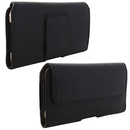 XiRRiX Echt Leder Handy Tasche 2.4 4XL Gürteltasche passend für Huawei Mate 20 Lite / P30 Pro / Y6 Y7 2019 / Samsung Galaxy A10 A30s A50 A51 M21 M31 / Note 10 - Gürtel Handytasche schwarz
