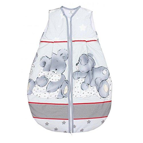 TupTam Baby Unisex Schlafsack Ärmellos Wattiert, Farbe: Bärchen Grau/Rot, Größe: 92-98