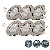 B.K.Licht I 6er Set schwenkbare LED Einbaustrahler I inkl. 6x 5W 400lm GU10 Leuchtmittel I warmweiße Lichtfarbe I LED Einbauspots I LED Einbauleuchten