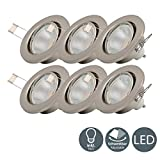 B.K.Licht I 6er Set schwenkbare LED Einbaustrahler I...
