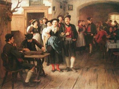 Franz von Defregger Vor dem Tanz Poster Bild Kunstdruck 65x75cm