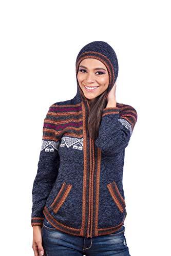 INTI ALPACA Alpaka Strickjacke für Damen mit Reißverschluss und Kapuze - Winterjacke - Sweatjacke - Blau (Medium)