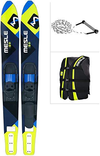 MESLE Combo-Ski Package XPlore 157 cm mit Weste Sportsman + Leine Combo, Wasserski für Jugendliche und Erwachsene, Lime