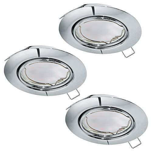 Preisvergleich Produktbild EGLO 3er-Set Einbaustrahler Peneto,  Spots Set aus Stahl in chrom,  3 Einbauleuchten mit GU10 Fassung,  LED Leuchtmittel inklusive,  Spot flach,  schwenkbar,  Ø 8, 7 cm