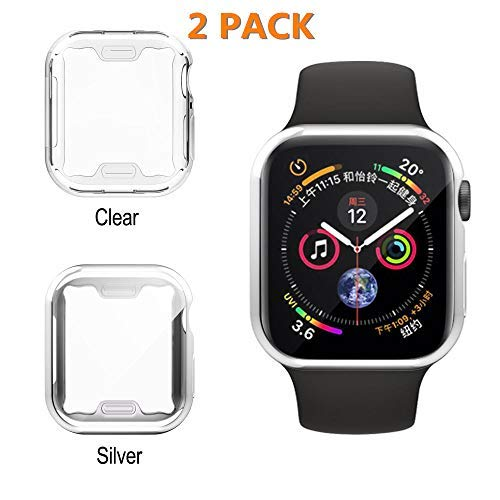 UBOLE Case for Apple Watch, UBOLE iWatch Screen Protector Soft Plated TPU All-Around Ultra-Thin Cover for Apple Watch Series 1, Series 2, Series 3, Nike+, Edition (Clear+Silver, 42mm)