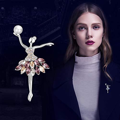 MLSJM Frauen Brosche, Romantische Ballett Crystal Pearl Broschen, Swarovski Element Crystal, Ewelry Dekoration Kleidung Schal Zubehör,Rosa