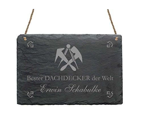 Wetterfeste Schiefertafel « BESTER DACHDECKER DER WELT » Mit persönlichem Namen - Schild mit Motiv Zunftzeichen - Größe ca. 22 x 16 cm - Türschild Wandschild - Bau Handwerk Zunft Dachdecken