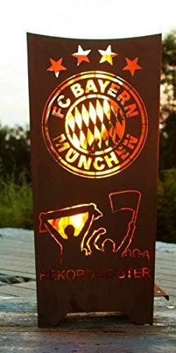Feuertonne Feuerkorb mia san mia Feuerstelle Rekordmeister Bayern aus Metall Edelrost offizielles Lizenzprodukt Fanartikel Fußball - Maße 87 cm x 40 cm x 40 cm