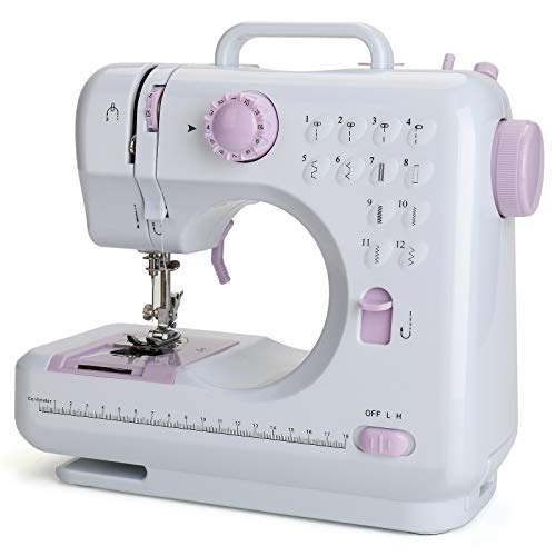 Aonesy Portable Sewing Machine, Electric Household Crafting Mending Mini Sewing Machines, 12 Stitches 2 Speed with Foot Pedal - Perfect for Easy Sewing, Beginners, Kids (Purple)