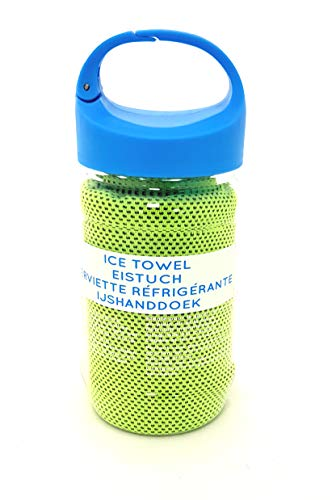 SO Cool Ice Towel Botella Gimnasio/Deporte/Outdoor Verano Clip Tapa Chill Botella REFRIGERABLE Refuerzo DE LA Estancia para MÁS Largo (Verde)