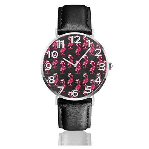 Rote Flamingos Weihnachten Unisex Uhr Mode Sport Uhr PU Lederband Quarz Armbanduhren Schlanke Klassische Uhr