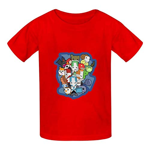 Fashion Youth Tee Shirts Crasher Castle Knights 3D Print Kids T-Shirts Red