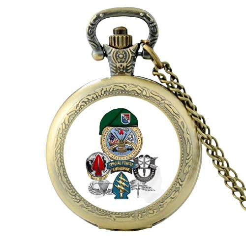 Classic Special Forces - Reloj de bolsillo de cuarzo vintage para hombre y mujer, colgante de cúpula de cristal