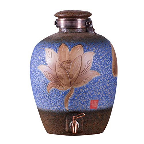 Produzione di birra Dispenser di Coccio Home Ceramica Vaso Cantina Distributore di Lattine Ristorante Bevande con Il Rubinetto (Color : Blue, Size : 34 * 49cm)