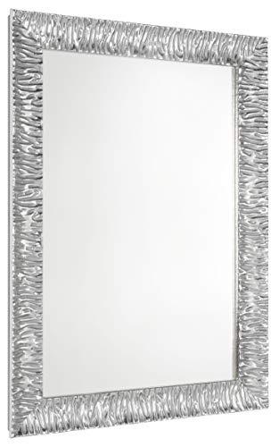 GaviaStore Specchio Moderno da Parete di altissima qualità – Julie Argento - 70x50 cm - arred casa Art Home Decor Soggiorno Modern Sala paret Camera Bagno Cucina Ingresso