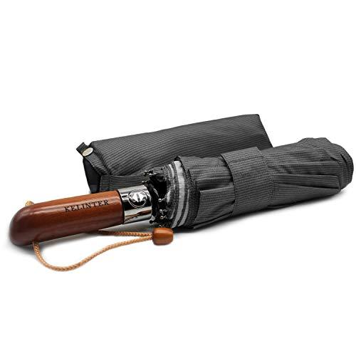 Kelinter Opvouwbare paraplu, robuuste teflon stof, waterdicht en bescherming van de zon, met één knop, sterke windweerstand, antislip houten handvat, klassiek en elegant