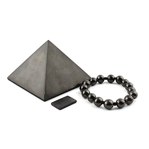 EMF-Schutz-Set, Shungitstein-Geschenkset Bietet Schutz vor EMF-Strahlung | Shungit-EMF-Set Enthält Eine Rechteckige Telefonplatte, 8 Zentimeter Polierte Pyramide, Dehnbares Armband