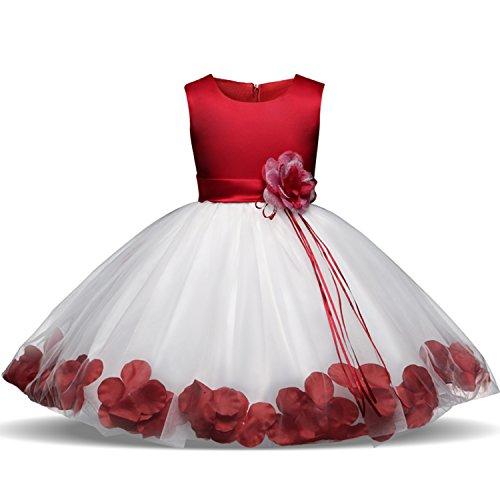 NNJXD Mädchen Tutu Blütenblätter Schleife Brautkleid für Kleinkind Mädchen, Rot 1, 5-6 Jahre/ Etikettgröße- 130
